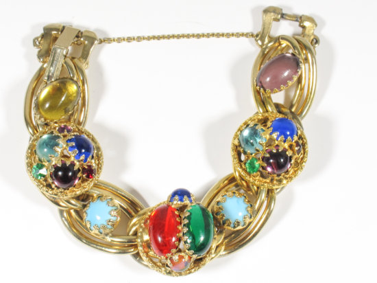 Vintage Signed Reinad Multi-colored Glass Stone Chunky Bracelet