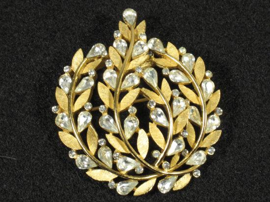 Gold Tone Crown Trifari Signed Brooch