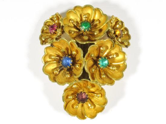 "Multi-colored Glass Stone/Gold Tone Scarf Clip Marked ""Czechoslovakia"""