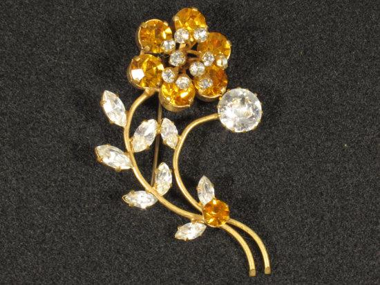 Great Amber & White Rhinestone Flower Brooch
