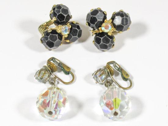 2 Sets of Vintage Globe Clip On Earrings