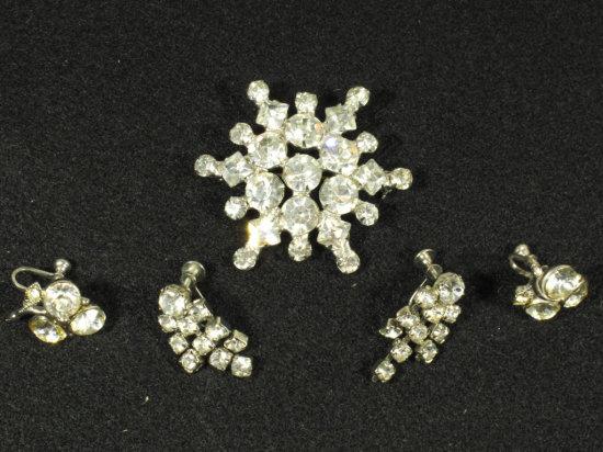 2 Sets Vintage Rhinestone Earrings and Brooch