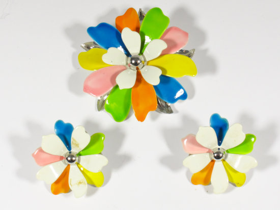 Signed Sarah Coventry Enamel Multi-color Flower Brooch and Earring Set