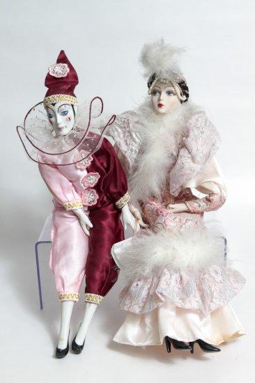 2 Marionette-style Porcelain Dolls in Pink