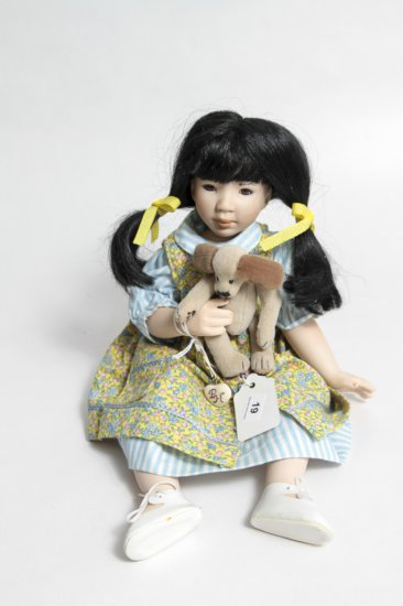 12-inch Ganz Cottage Collectibles Porcelain Doll w/ Puppy by Pam Hamel (1997)