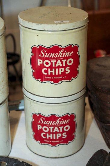 Lot of two Sunshine Potato Chip tins