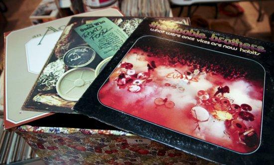 Box of LP albums