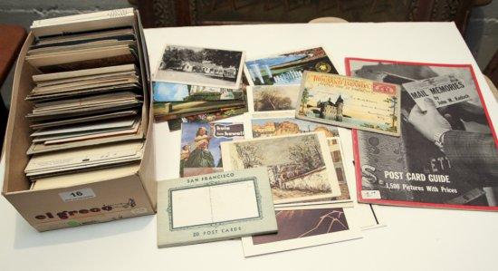 Shoebox of various postcards