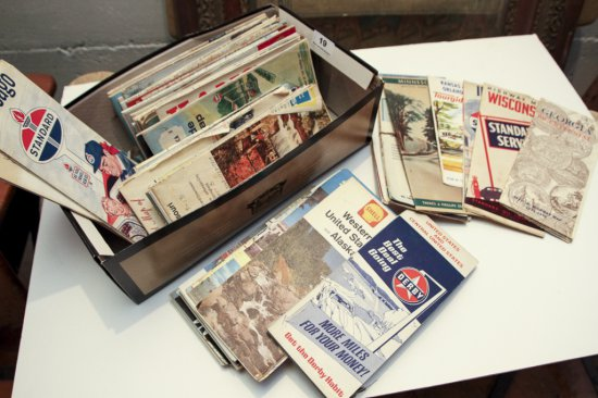 Lot of approximately 70 old road maps