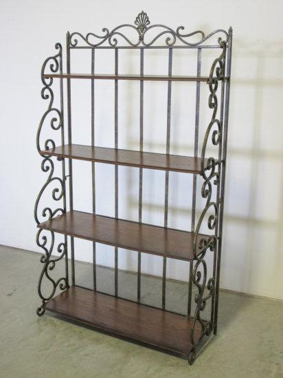 "40"" wide folding wood and metal shelf"