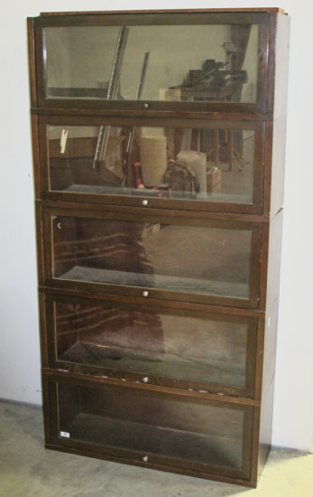 Five Globe Wernicke bookcase sections
