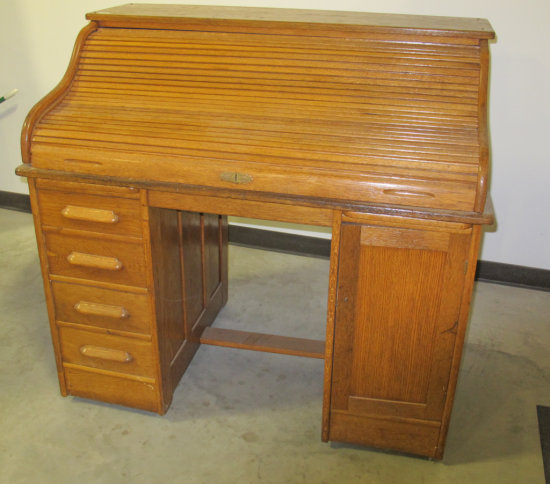 "48"" Oak S Curve Roll Top Desk"