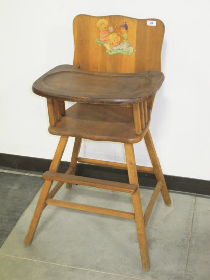 Wooden Child's High Chair