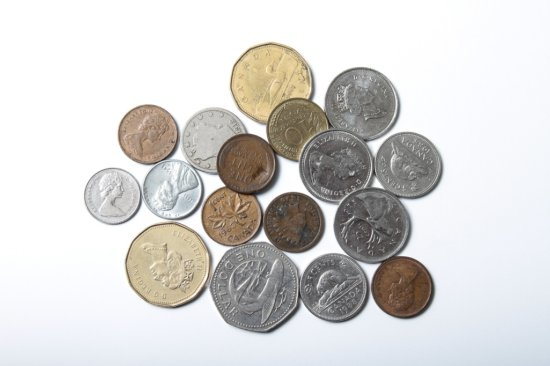 Small lot foreign coins, four American coins