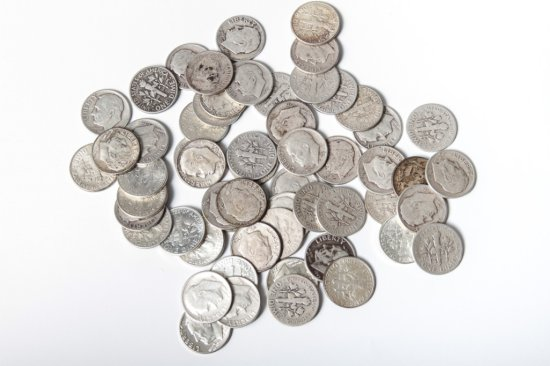 Lot: 57 circ. silver Roosevelt dimes