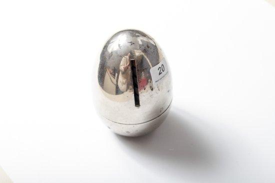 Chrome plated advertising egg bank