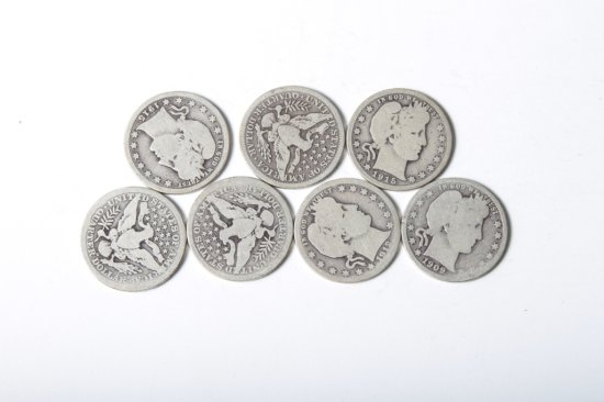 Lot 7: well circulated Barber quarters
