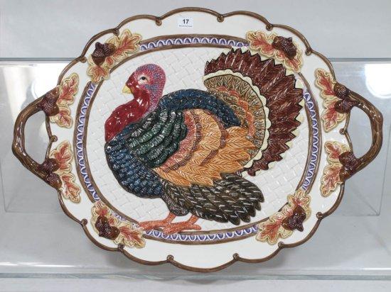 "17"" Fitz & Floyd Omnibus Turkey Platter"