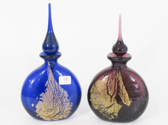 Lot of 2 Art Glass Perfume Bottles