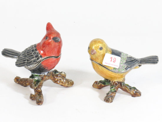 Lot of 2 Enameled Bird Trinket Boxes