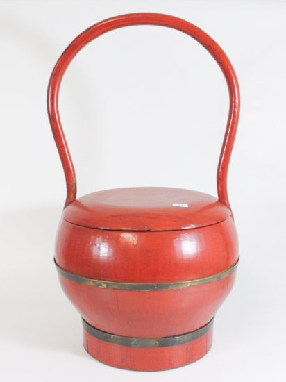 """18"""" Red Chinese Wooden Bucket With Lid"""