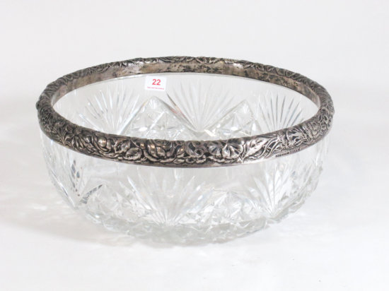 """9"""" Glass Bowl With Sterling Silver Rim"""