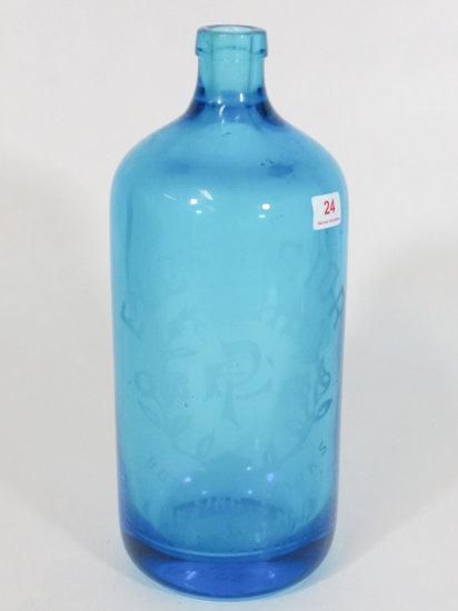 """9"""" Blue Excelsior Bottle, Newark NJ"""