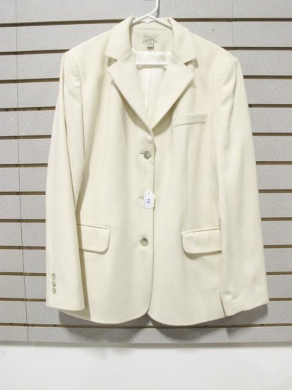 LL Bean Women's Cream Wool/Cashmere Blazer