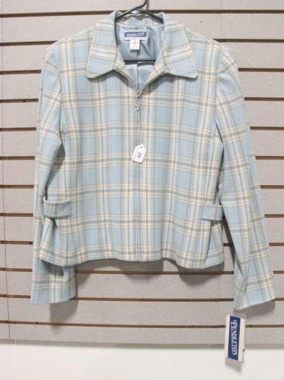 Pendleton Women's Virgin Wool Light Aqua/Cream Plaid Zip Jacket , New w/ Tags