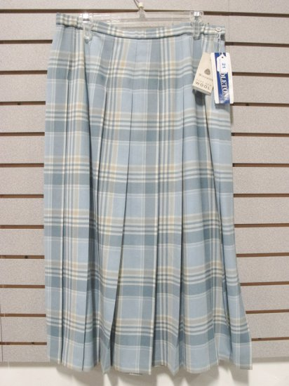 Pendleton Women's Virgin Wool Light Aqua/Cream Plaid Pleated Skirt , New