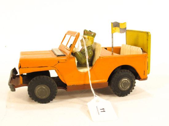 "Japanese Lithograph Tin ""Follow Me Jeep"""
