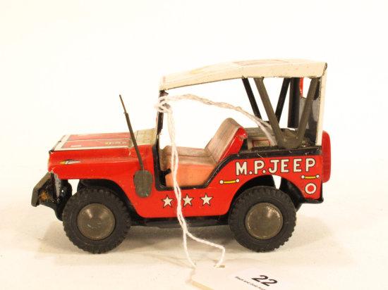 Japanese Tin Litho MP Jeep