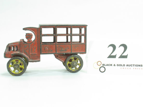 """4-3/4"""" Cast Iron Covered Circus Truck"""