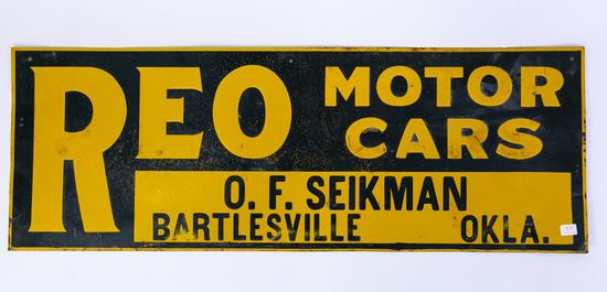 REO motor cars tin sign