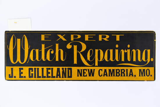 Expert Watch Repairing cardboard sign