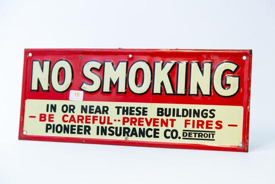 "Porcelain ""NO SMOKING"" sign, unusual"