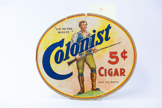 Colonist 5 cent Cigar oval sign, 2-sided