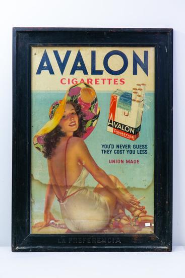 Large Avalon Cigarettes framed ad