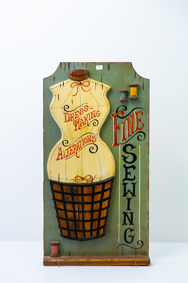 Painted wood Fine Sewing hanging sign