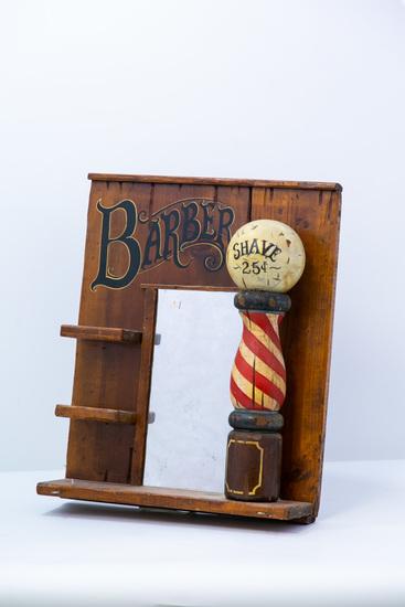 Wooden Barber hanging mirror/display