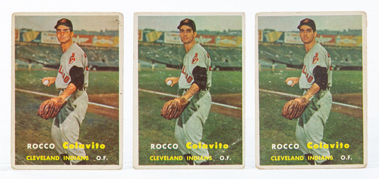 1957 Topps #212 Rocky Colavito Rookie Cards, (3)
