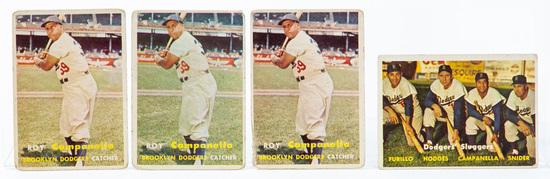 1957 Topps #210 Campanella, #400 Dodgers Sluggers