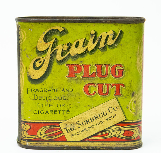 Grain plug cut pocket tobacco tin