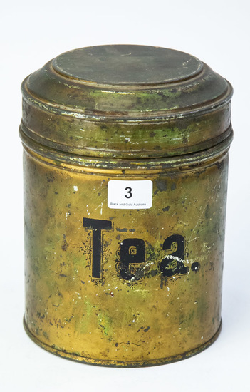 "5"" tall Tea tin with hinged lid"