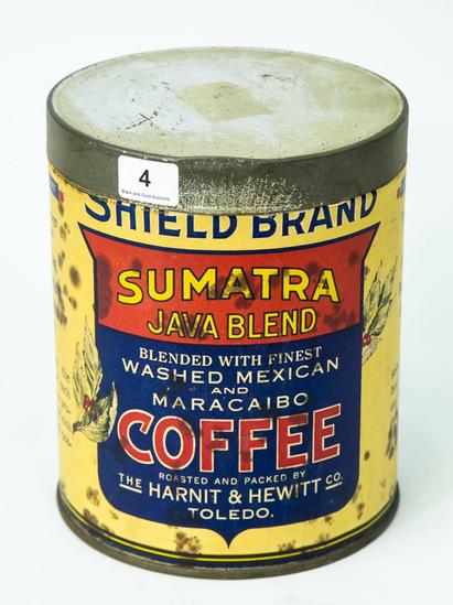 "Shield Brand Coffee 5 1/4"" tall tin"