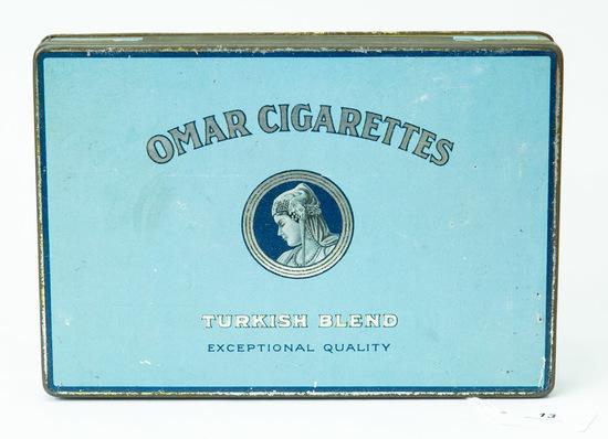 Omar Cigarettes large flat tin