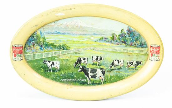 Carnation Milk oval advertising tip tray