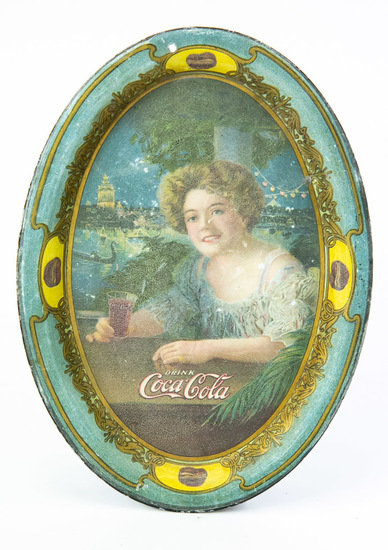Oval Coca-Cola advertising tip tray