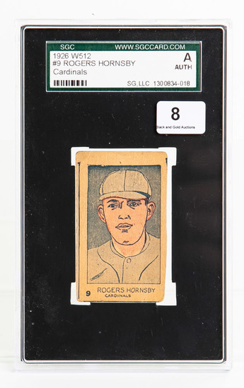 1926 W512 #9 Rogers Hornsby (HOF), SGC, Auth
