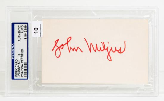 Johnny Miljus Autographed Index Card, PSA/DNA